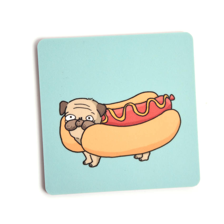 Coaster Lilla Berlin Pug-hot dog