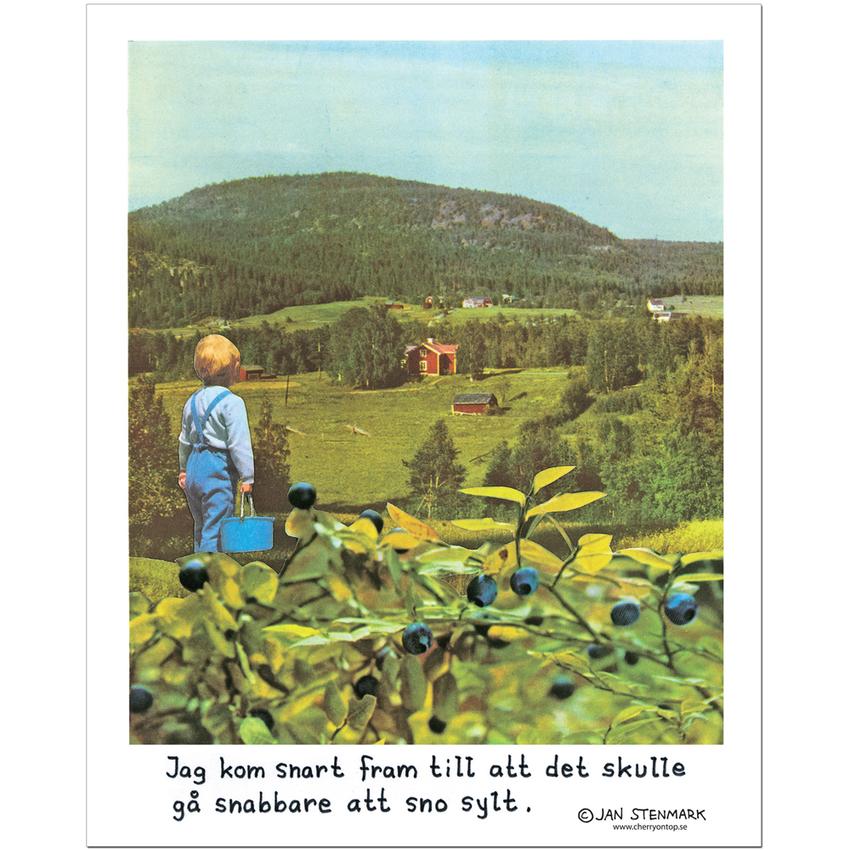 """Poster Jan Stenmark """"Blåbär"""" small 24x30 cm"""