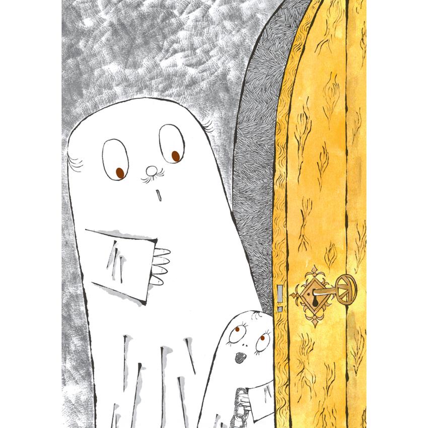 Vykort Spöket Laban, dörren