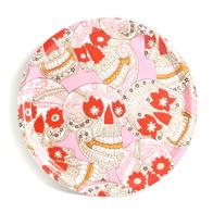 Pyöreä Tarjotin 31 cm Pääkalloja (vaaleanpunainen)