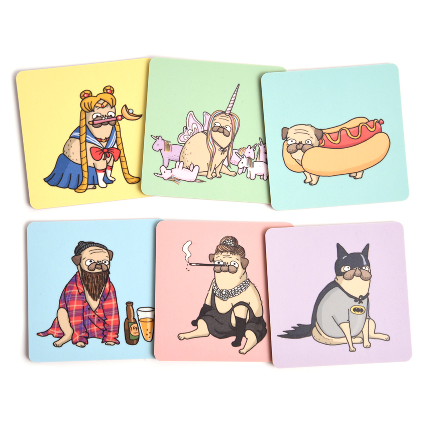 Coaster Lilla Berlin Pug-batman